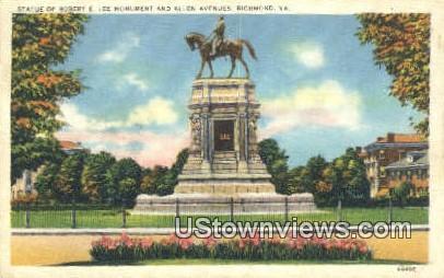 Statue Of Robert E Lee Monumen - Richmond, Virginia VA Postcard