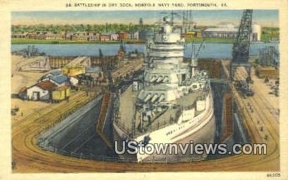 Battleship In Dry Dock  - Portsmouth, Virginia VA Postcard