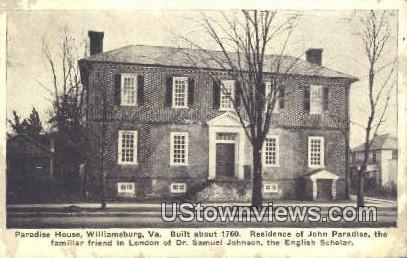 Paradise House  - Williamsburg, Virginia VA Postcard