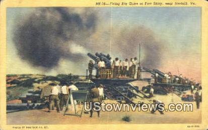 Firing Big Guns At Fort Story  - Norfolk, Virginia VA Postcard