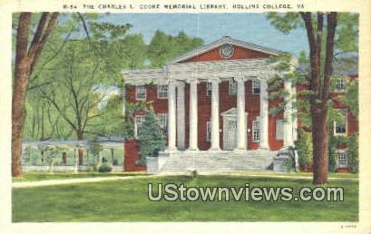 The Charles L Cooke Memorial  - Hollins College, Virginia VA Postcard