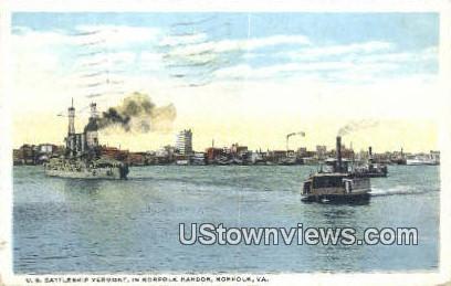 US Battleship Vermont  - Norfolk, Virginia VA Postcard