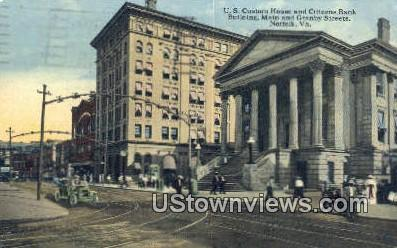 US Custom House And Citizen Bank  - Norfolk, Virginia VA Postcard