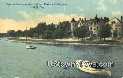 View of Mowbray Arch Ghent  - Norfolk, Virginia VA Postcard