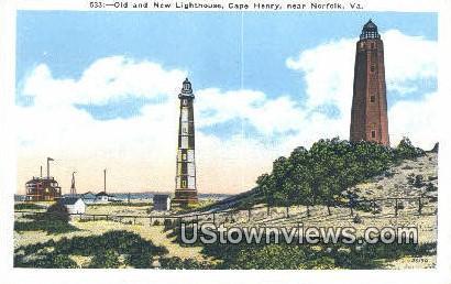 Old And New Lighthouse  - Norfolk, Virginia VA Postcard