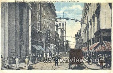 Granby Street, Amin Street Atlantic  - Norfolk, Virginia VA Postcard