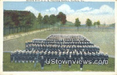 Sailors Drill At US Training Station  - Norfolk, Virginia VA Postcard
