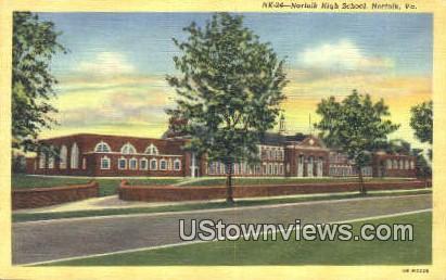 Norfolk High School  - Virginia VA Postcard