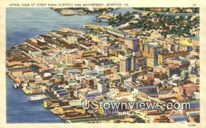 Aerial View Of Down town  - Norfolk, Virginia VA Postcard