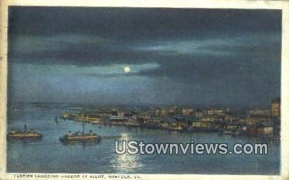 Ferries Crossing At harbor By Night  - Norfolk, Virginia VA Postcard
