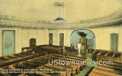 Interior View Old St Johns Church  - Richmond, Virginia VA Postcard