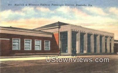 Norfolk & Western Railroad Station  - Roanoke, Virginia VA Postcard