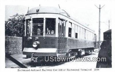 Richmond Ashland Railway Car 316  - Virginia VA Postcard