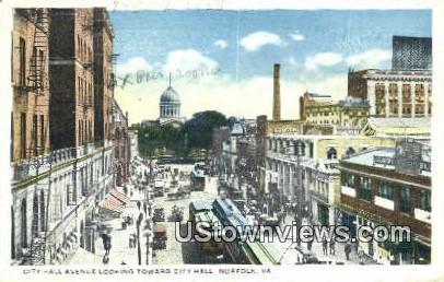 City Hall Avenue  - Norfolk, Virginia VA Postcard