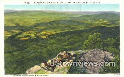 Panoramic View Of Rocky Cliffs  - Skyline Drive, Virginia VA Postcard