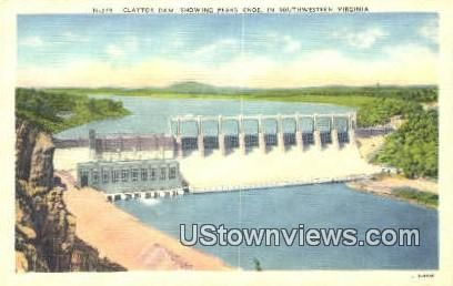 Claytor Dam Showing Peaks Knob  - Southwestern, Virginia VA Postcard