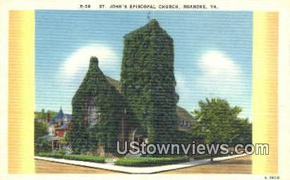 St Johns Episcopal Church  - Roanoke, Virginia VA Postcard