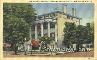 Elks Home  - Winchester, Virginia VA Postcard