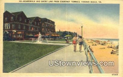 Boardwalk And Shore  - Virginia Beach Postcards, Virginia VA Postcard