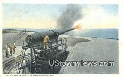 12 inch Gun In Action  - Fortress Monroe, Virginia VA Postcard