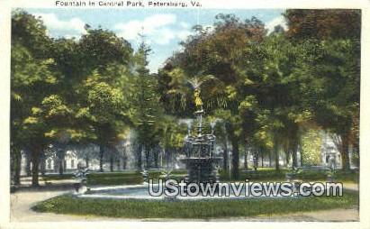 Fountain In Central Park  - Petersburg, Virginia VA Postcard