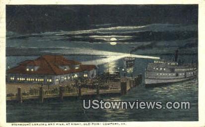 Steamboat Landing And Pier At Night  - Old Point Comfort, Virginia VA Postcard