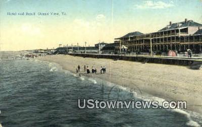 Hotel And Beach  - Ocean View, Virginia VA Postcard