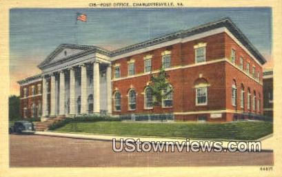 Post Office  - Charlottesville, Virginia VA Postcard