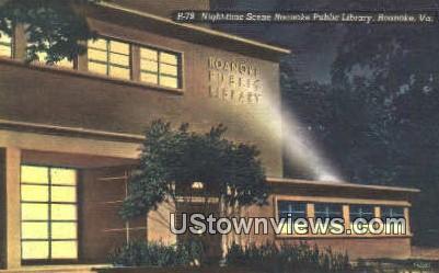 Roanoke Public Library At Night  - Virginia VA Postcard