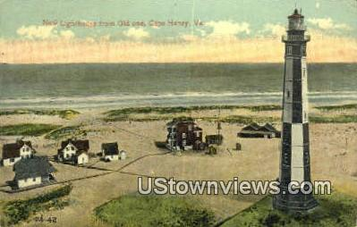 New Lighthouse From Old One  - Cape Henry, Virginia VA Postcard