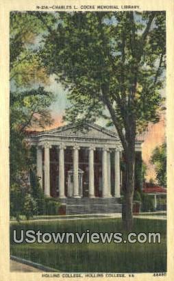 Charles L Cook Memorial - Hollins College, Virginia VA Postcard