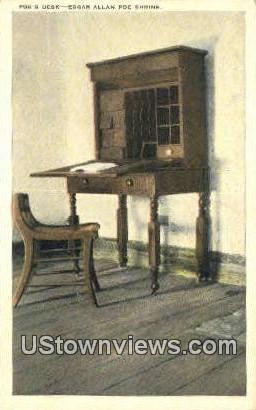 Edgar Allen Poe Shrine Poes Desk - Richmond, Virginia VA Postcard