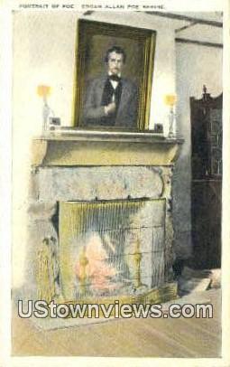 Portrait Of Poe Edgar Allen Poe Shrine  - Richmond, Virginia VA Postcard