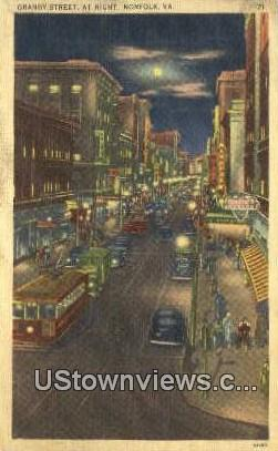 Granby Street At Night  - Norfolk, Virginia VA Postcard