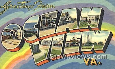 Greetings From  - Ocean View, Virginia VA Postcard