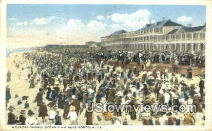 A Sunday Crowd  - Norfolk, Virginia VA Postcard
