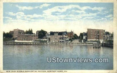 New West Avenue Residential Section  - Newport News, Virginia VA Postcard
