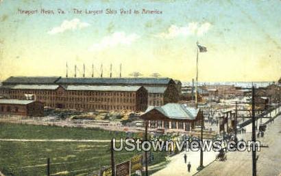 The Largest  Ship Yard  - Newport News, Virginia VA Postcard