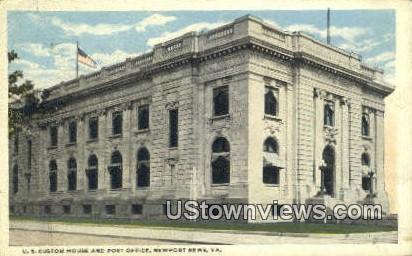 Us Custom House And Post Office  - Newport News, Virginia VA Postcard