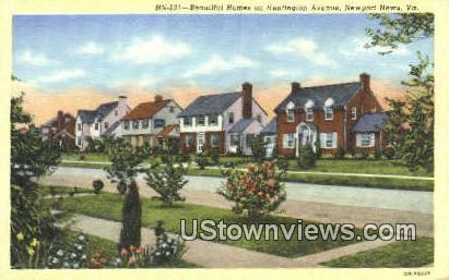 Beautiful Homes On Huntington - Newport News, Virginia VA Postcard