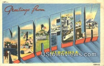 Greetings From  - Norfolk, Virginia VA Postcard