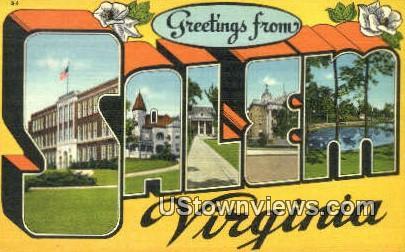 Greetings From  - Salem, Virginia VA Postcard