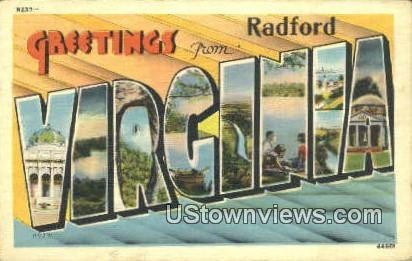 Greetings From  - Radford, Virginia VA Postcard