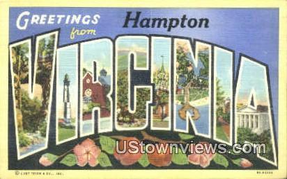 Greetings From  - Hampton, Virginia VA Postcard