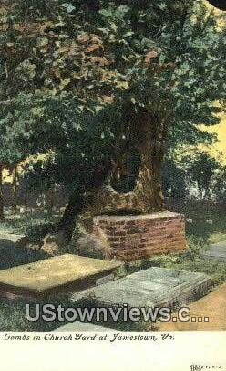 Tombs In Church Yard  - Jamestown, Virginia VA Postcard