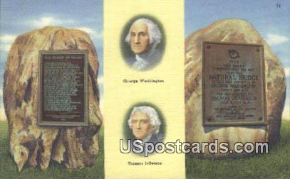 George Washington, Thomas Jefferson - Natural Bridge, Virginia VA Postcard