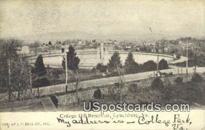 College Hill Reservoir - Lynchburg, Virginia VA Postcard