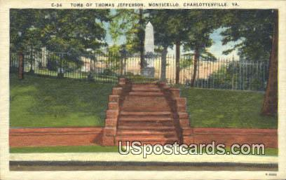 Tomb of Thomas Jefferson - Charlottesville, Virginia VA Postcard