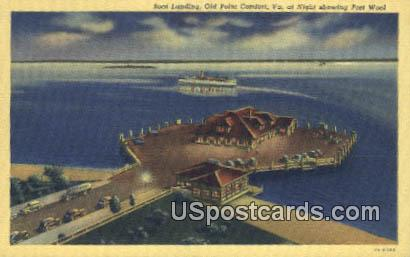 Boat Landing - Old Point Comfort, Virginia VA Postcard