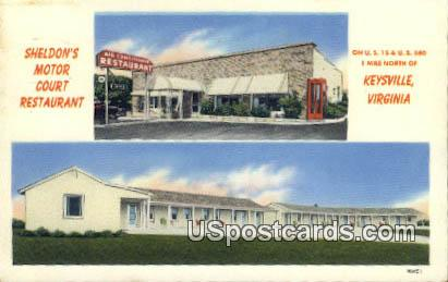Sheldon's Motor Court Restaurant - Keysville, Virginia VA Postcard